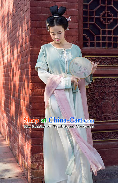 Traditional Chinese Ancient Palace Lady Costume White Cardigan, Asian China Tang Dynasty Imperial Concubine Embroidered Blouse Clothing for Women