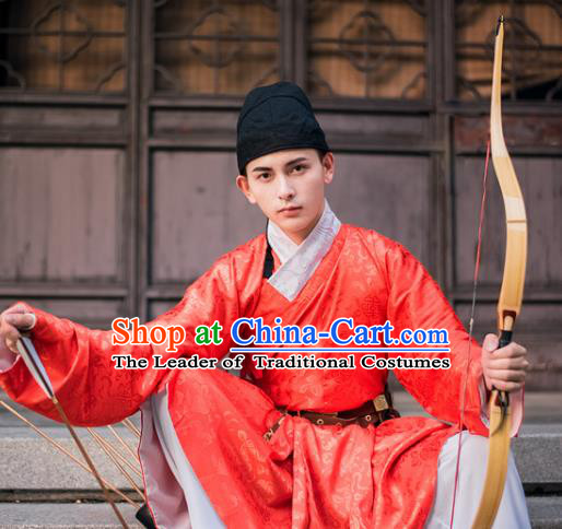Traditional Chinese Ancient Costume, Asian China Ming Dynasty Swordsman Red Clothing for Men