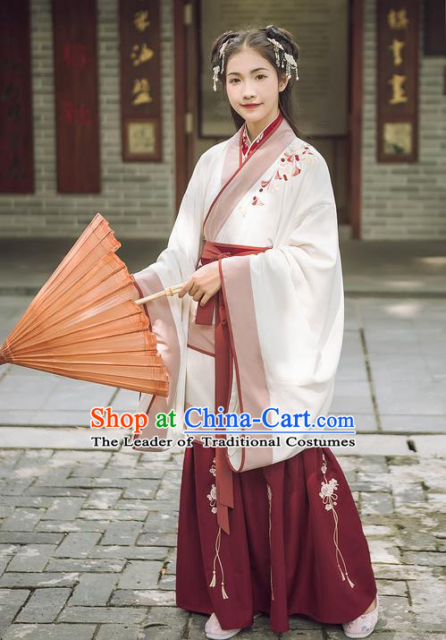 Traditional Chinese Ancient Hanfu Princess Costume White Curve Bottom, Asian China Han Dynasty Palace Lady Embroidered Ginkgo Dress for Women
