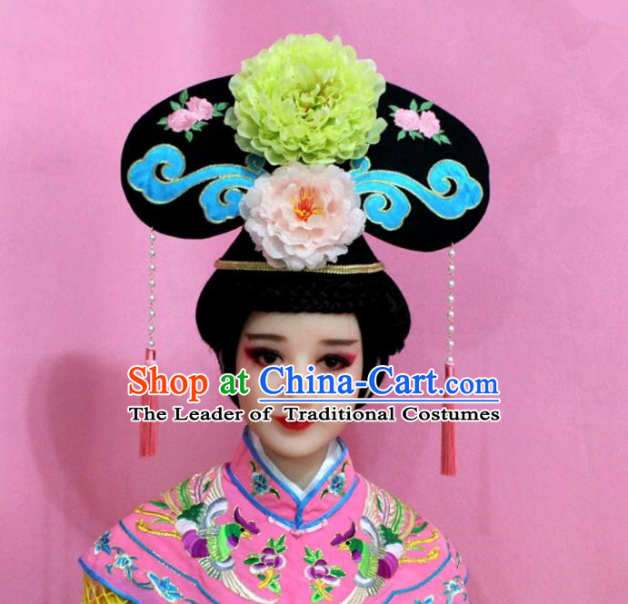 Traditional Handmade Chinese Hair Accessories Qing Dynasty Palace Lady Green Peony Headwear, Manchu Imperial Concubine Hairpins for Women