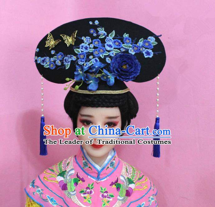 Traditional Handmade Chinese Hair Accessories Qing Dynasty Palace Lady Blue Plum Blossom Headwear, Manchu Imperial Concubine Hairpins for Women