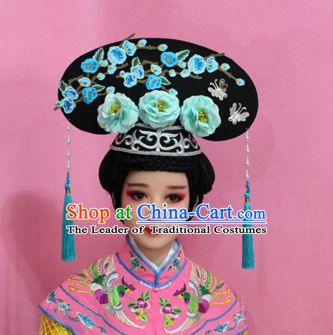 Traditional Handmade Chinese Hair Accessories Qing Dynasty Palace Lady Light Blue Plum Blossom Headwear, Manchu Imperial Concubine Hairpins for Women