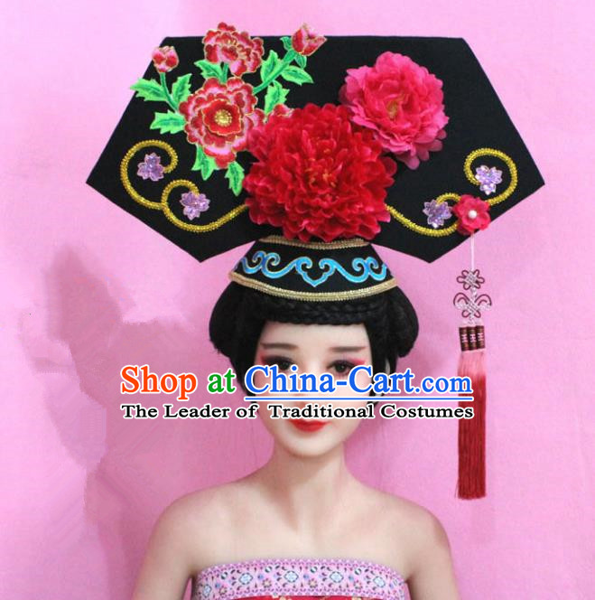 Traditional Handmade Chinese Hair Accessories Qing Dynasty Empress Banners Red Peony Headwear, Manchu Imperial Concubine Hairpins for Women