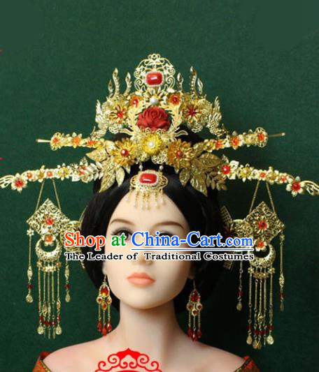 Traditional Handmade Chinese Hair Accessories Tang Dynasty Empress Tassel Hairpins Phoenix Coronet, China Palace Step Shake Headwear for Women