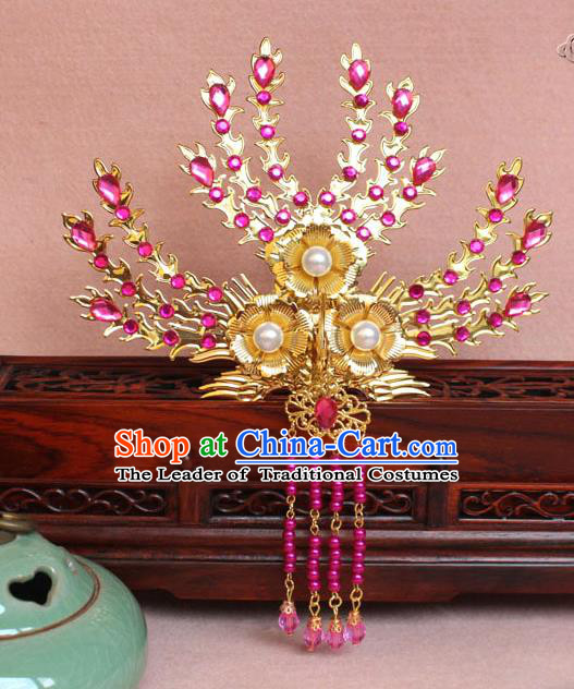 Traditional Handmade Chinese Hair Accessories Princess Golden Phoenix Frontlet Hairpins, Ming Dynasty Palace Lady Rosy Tassel Step Shake for Women