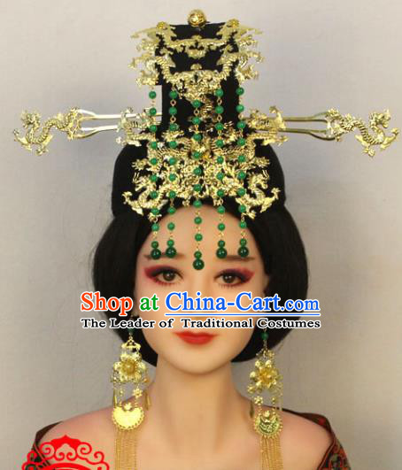 Traditional Handmade Chinese Hair Accessories Tang Dynasty Empress Phoenix Coronet, China Palace Lady Hairpins Green Beads Tassel Headwear for Women