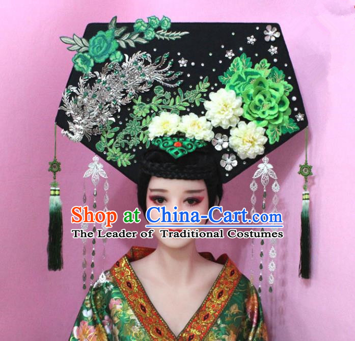 Traditional Handmade Chinese Hair Accessories Qing Dynasty Empress Banners Tassel Phoenix Green Headwear, Manchu Imperial Concubine Hairpins for Women