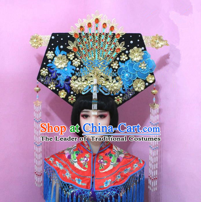 Traditional Handmade Chinese Hair Accessories Qing Dynasty Empress Great Wing Banners Phoenix Headwear, Manchu Imperial Concubine Hairpins for Women
