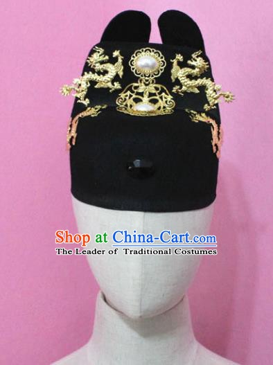Traditional Handmade Chinese Hair Accessories Emperor Headwear, China Ming Dynasty Majesty Hats for Men