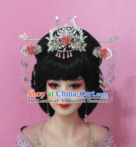 Traditional Handmade Chinese Hair Accessories Empress Pink Flower Tassel Phoenix Coronet, China Tang Dynasty Hairpins Step Shake Complete Set for Women