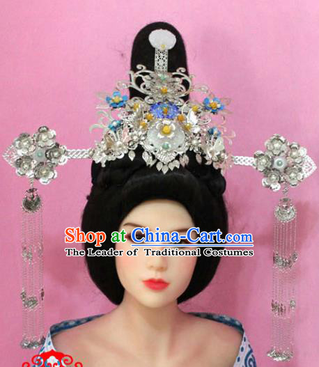 Traditional Handmade Chinese Hair Accessories Empress Phoenix Step Shake, China Tang Dynasty Hairpins Complete Set for Women