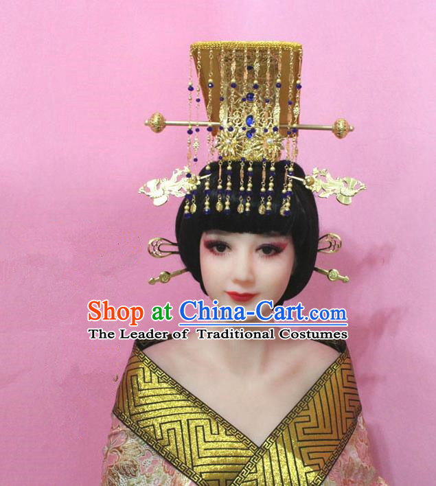 Traditional Handmade Chinese Hair Accessories Tang Dynasty Empress Wu Zetian Tassel Hats for Women
