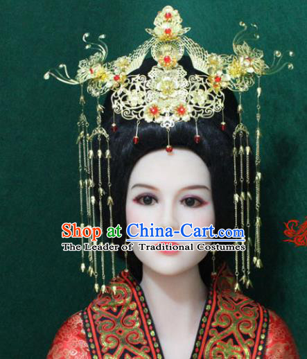 Traditional Handmade Chinese Hair Accessories Tang Dynasty Empress Tassel Phoenix Coronet Xiuhe Suit Hairpins Headwear Complete Set for Women