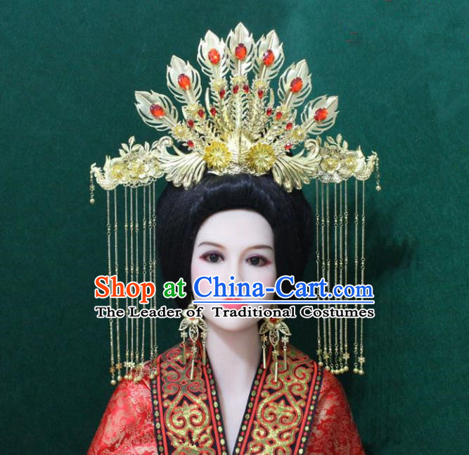 Traditional Handmade Chinese Hair Accessories Tang Dynasty Empress Tassel Phoenix Coronet Royal Queen Hairpins Headwear Complete Set for Women