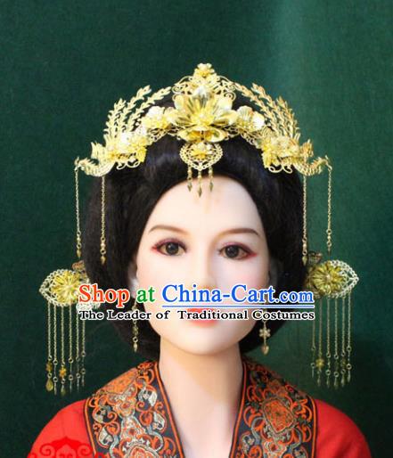 Traditional Handmade Chinese Hair Accessories Tang Dynasty Butterfly Phoenix Coronet, Royal Princess Tassel Hairpins Complete Set for Women