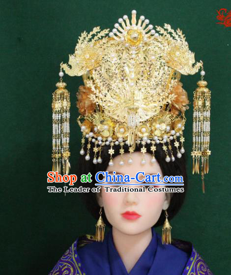 Traditional Handmade Chinese Hair Accessories Hanfu Empress Wedding Phoenix Coronet, Han Dynasty Princess Tassel Hairpins Headwear for Women