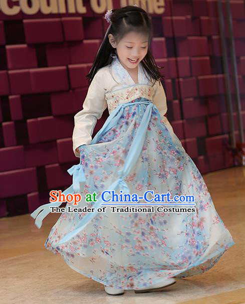 Asian China Tang Dynasty Hanfu Costume, Traditional Chinese Princess Dress Clothing for Kids