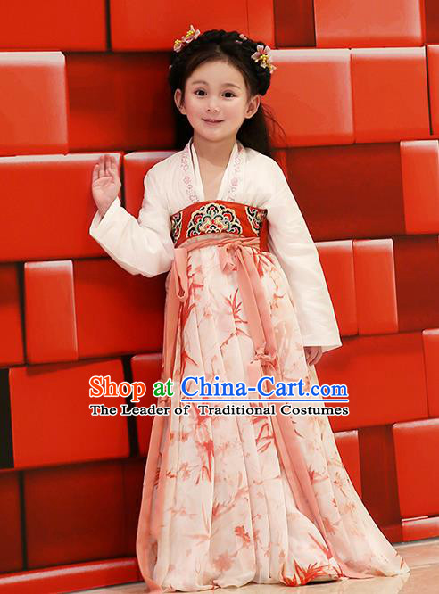 Asian China Tang Dynasty Hanfu Costume, Traditional Chinese Princess Red Dress Clothing for Kids