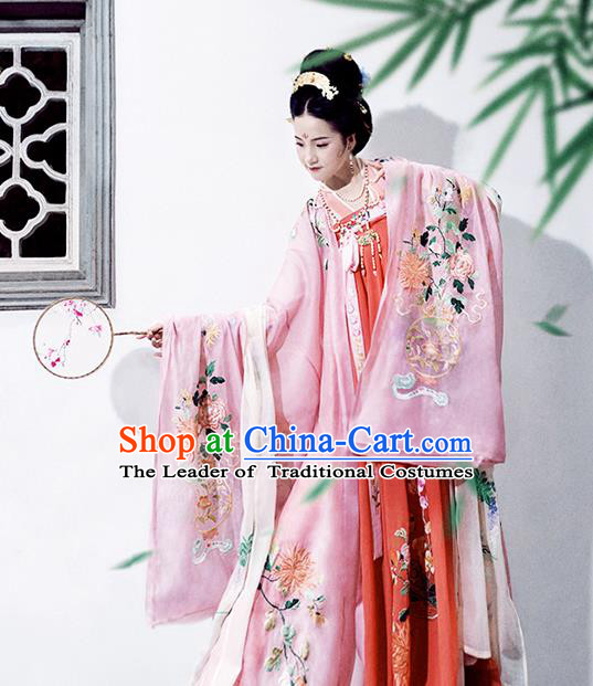 Asian China Ancient Tang Dynasty Palace Lady Costume Pink Cloak, Traditional Chinese Princess Embroidered Wide Sleeve Cardigan for Women