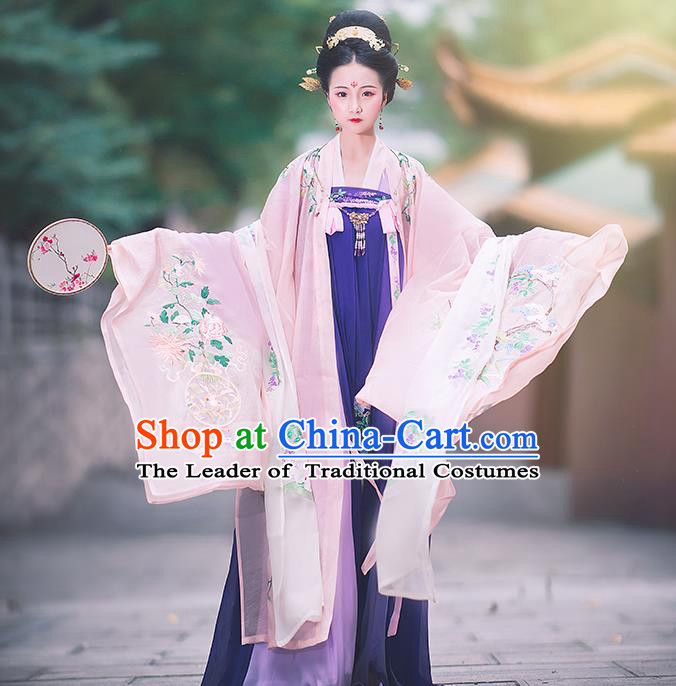 Asian China Ancient Tang Dynasty Palace Lady Costume Light Pink Cloak, Traditional Chinese Princess Embroidered Wide Sleeve Cardigan for Women