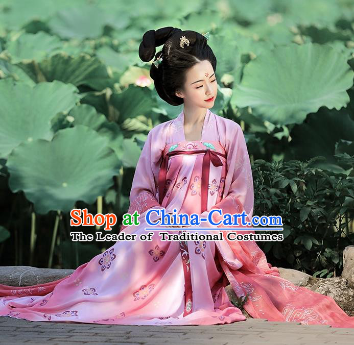 Traditional Chinese Ancient Imperial Concubine Hanfu Embroidered Costume Complete Set, Asian China Tang Dynasty Palace Lady Clothing for Women