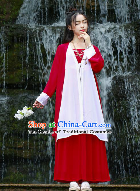 Asian Chinese Ming Dynasty Hanfu Embroidered Swordswoman Costume, Traditional China Ancient Princess Red Clothing for Women