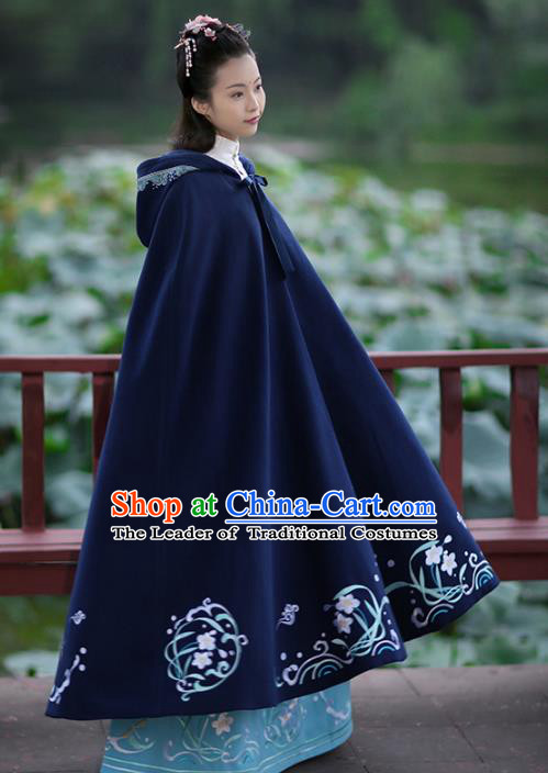 Asian Chinese Ming Dynasty Hanfu Costume Embroidered Swordswoman Cape, Traditional China Ancient Princess Navy Cloak Clothing for Women
