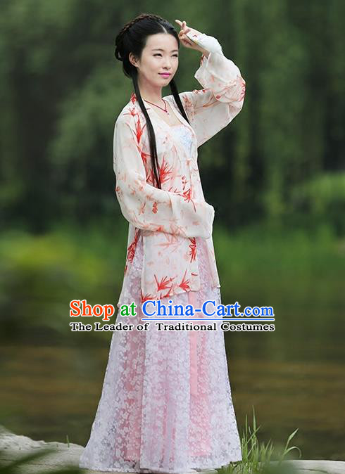 Asian Chinese Song Dynasty Young Lady Costume Hanfu BeiZi Complete Set, Traditional China Ancient Princess Pink Blouse for Women