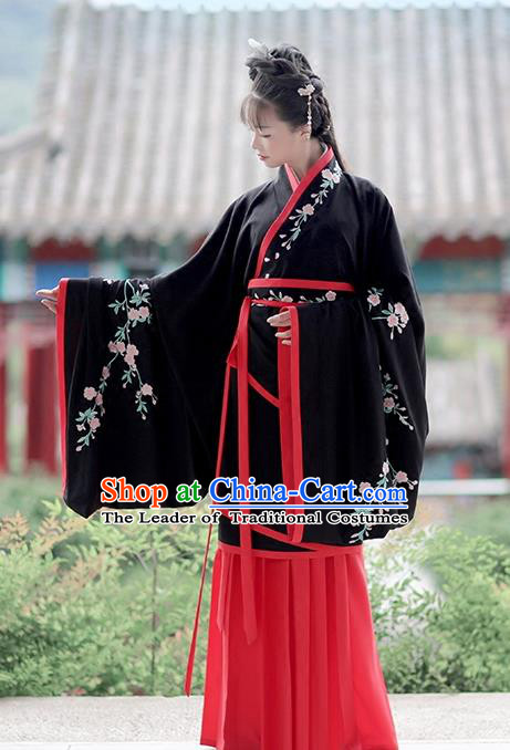 Asian Chinese Han Dynasty Costume Hanfu Embroidery Black Curve Bottom, Traditional China Ancient Embroidered Dress Clothing for Women