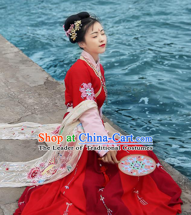 Asian Chinese Tang Dynasty Imperial Concubine Costume, Ancient China Palace Lady Embroidered Red Dress Clothing