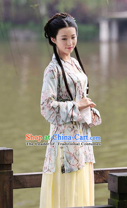 Asian Chinese Song Dynasty Princess Costume Complete Set, Ancient China Palace Lady Printing Clothing for Women