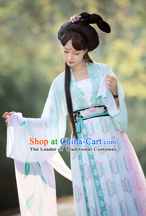 Asian Chinese Tang Dynasty Princess Embroidery Costume Complete Set, Ancient China Palace Lady Clothing for Women