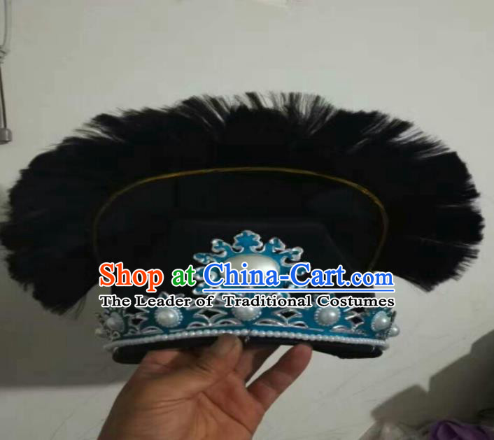 Traditional Chinese Peking Opera Old Men Black Hats, China Ancient Beijing Opera Ministry Councillor Headwear for Men