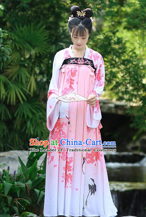 Asian Chinese Tang Dynasty Palace Lady Costume Printing Pink Dress, Ancient China Princess Hanfu Clothing for Women