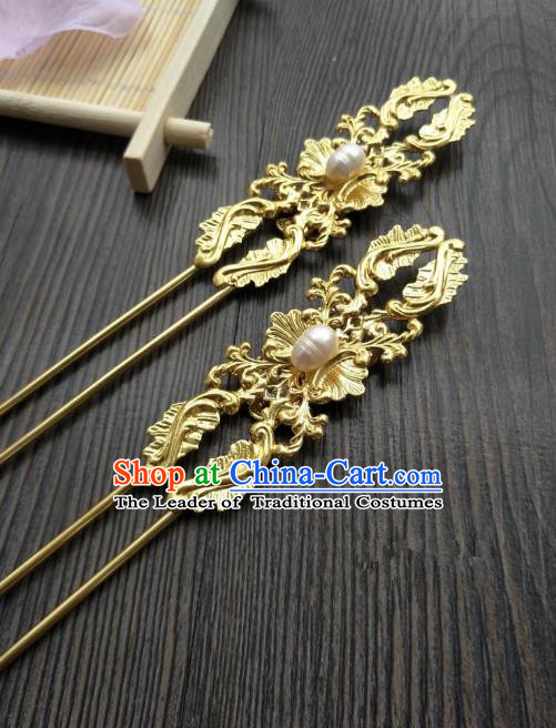 Traditional Handmade Chinese Hair Accessories Golden Hairpins, China Palace Lady Hanfu Pearls Hair Stick for Women