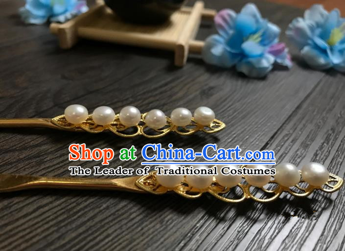 Traditional Handmade Chinese Hair Accessories Copper Hairpins, China Palace Lady Hanfu Pearls Hair Stick for Women