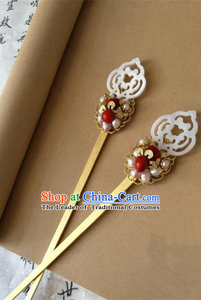 Traditional Handmade Chinese Hair Accessories Shell Hairpins, China Palace Lady Hanfu Pearls Hair Stick for Women