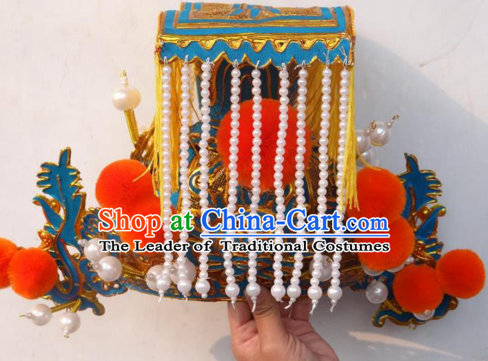 Traditional Chinese Qin Dynasty Imperial Emperor Tassel Hats, China Ancient Majesty Coronet Headwear for Men