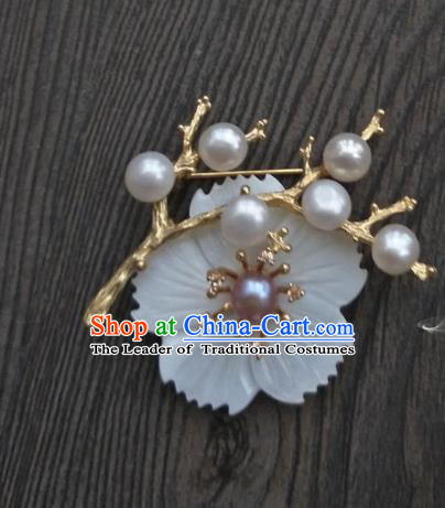 Traditional Handmade Chinese Accessories Pearls Brooch, China Ancient Tang Dynasty Palace Lady Hanfu Breastpin for Women