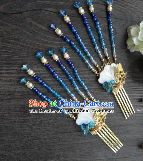 Traditional Handmade Chinese Hair Accessories Blue Beads Tassel Hair Comb Kanzashi, China Ancient Palace Lady Hanfu Hairpins for Women
