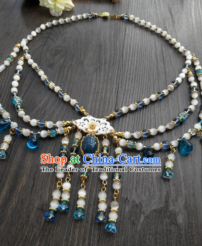 Traditional Handmade Chinese Accessories Blue Beads Necklace, China Palace Lady Hanfu Tassel Necklet for Women