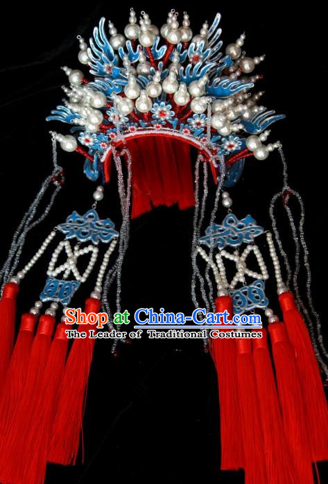Traditional Handmade Chinese Ming Dynasty Bride Hair Accessories Tassel Phoenix Coronet, China Ancient Palace Lady Wedding Headwear
