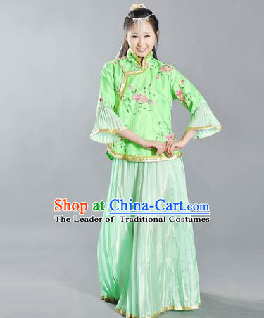 Traditional Ancient Chinese Republic of China Nobility Lady Green Costume, Asian Chinese Embroidered Clothing for Women