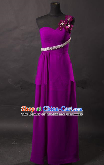 Traditional Chinese Modern Dancing Costume, Women Opening Classic Chorus Singing Group Paillette Purple Dress for Women