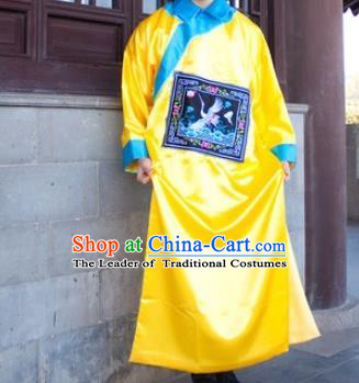 Traditional Ancient Chinese Manchu Minister Costume, Asian Chinese Qing Dynasty Royal Highness Embroidered Yellow Clothing for Men
