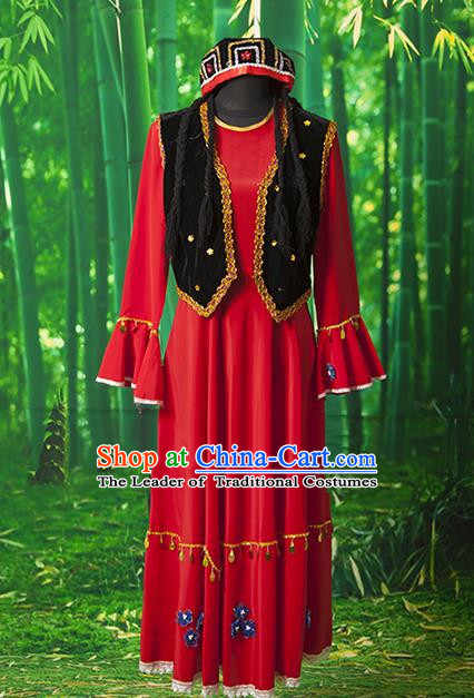Traditional Chinese Uyghur Nationality Dancing Costume, Chinese Minority Nationality Uigurian Dance Dress for Women