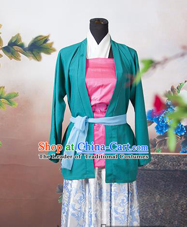 Traditional Ancient Chinese Swordswoman Costume, Asian Chinese Ming Dynasty Young Lady Clothing for Women