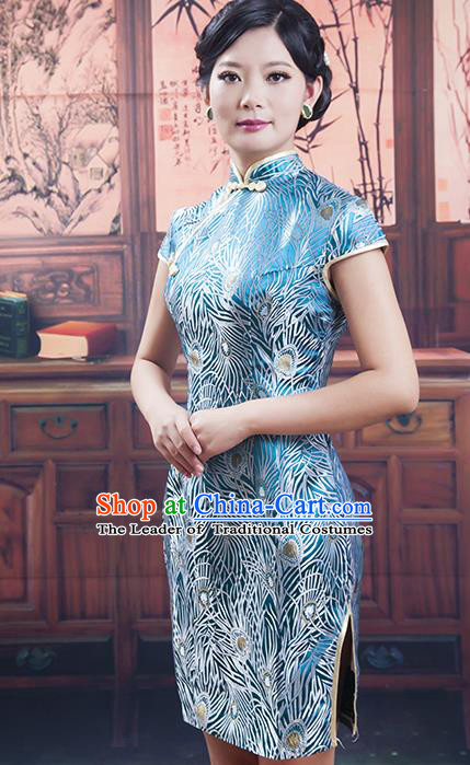 Traditional Ancient Chinese Republic of China Cheongsam Costume, Asian Chinese Printing Blue Silk Chirpaur Dress Clothing for Women