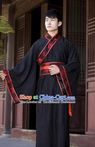 Asian China Ancient Han Dynasty Costume, Traditional Chinese Hanfu Embroidered Curve Bottom Clothing for Men