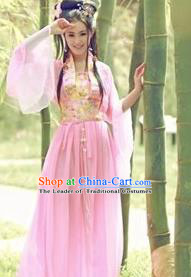 Asian China Ancient Tang Dynasty Imperial Concubine Costume, Traditional Chinese Hanfu Embroidered Pink Fairy Dress Clothing for Women